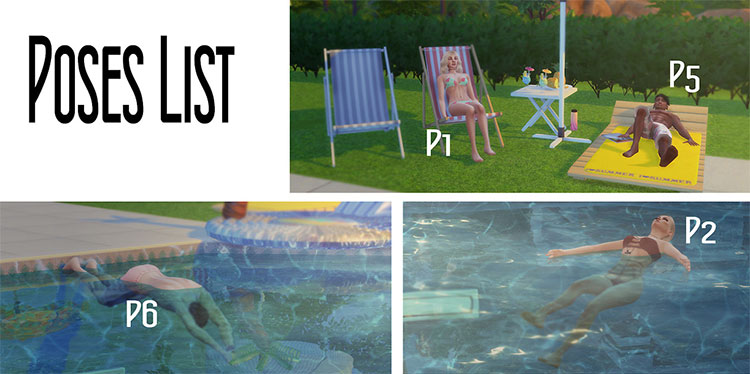 Pool Party Posepack Set - TS4