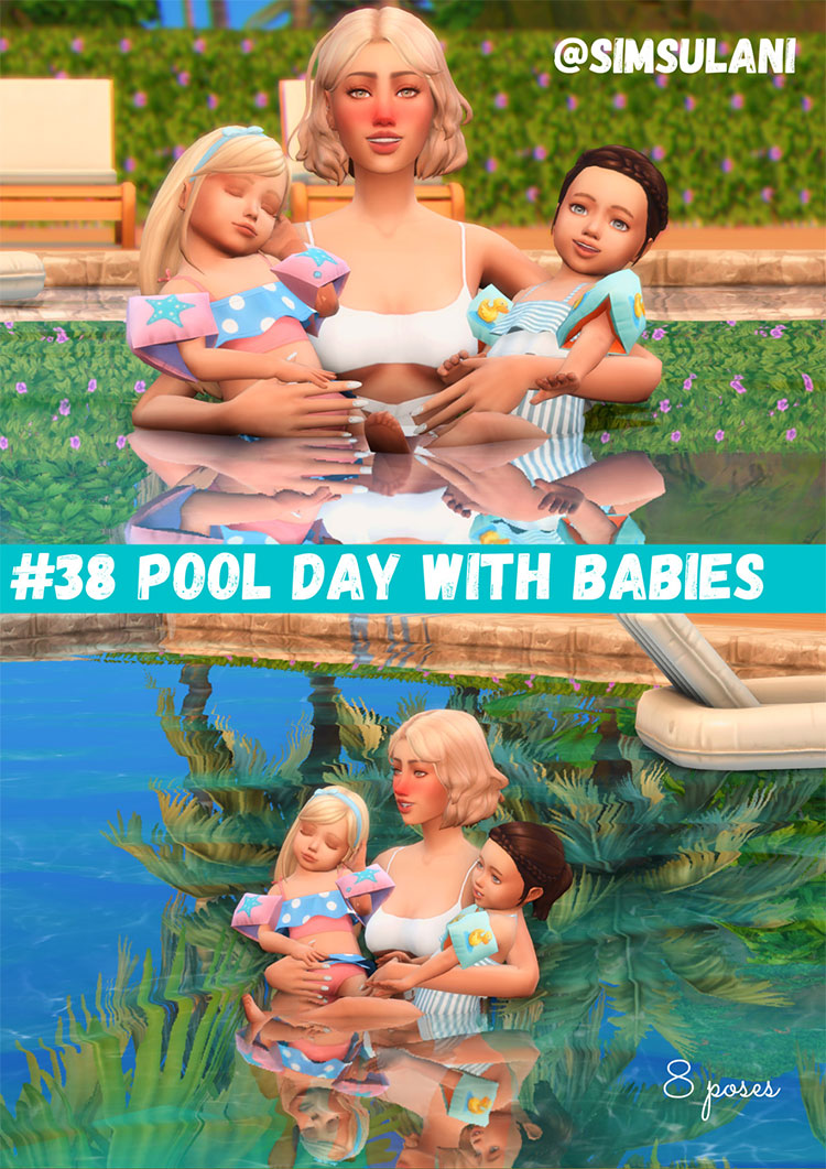 Pool Day Pose Pack - Sims 4