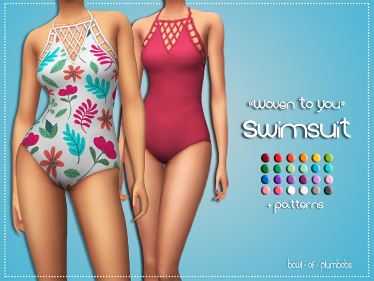 Woven to You Swimsuit - Sims 4 CC