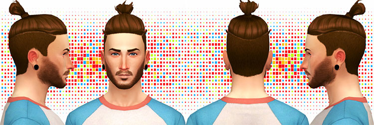 Shaved arounds messy bun - TS4 CC