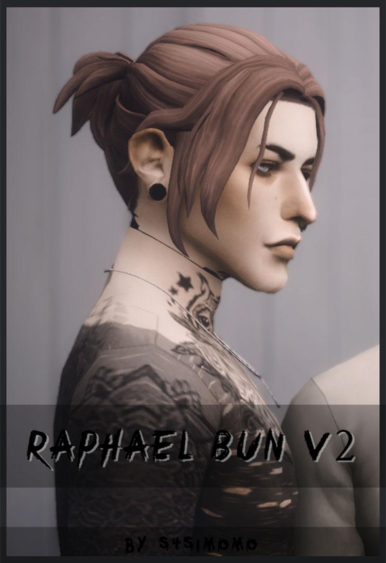 Raphael-Style Hair Bun - Male Sims 4 CC