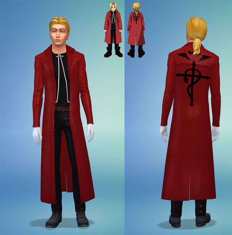 Ed Elric Coat and Outfit - Sims 4 CC