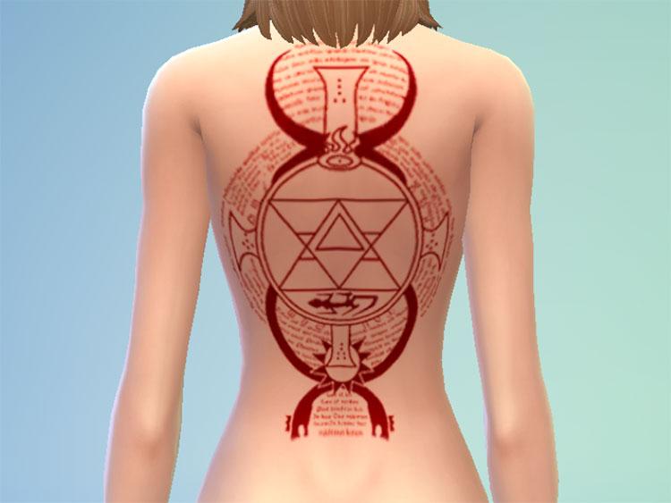 Riza Hawkeye Tattoo CC for The Sims 4