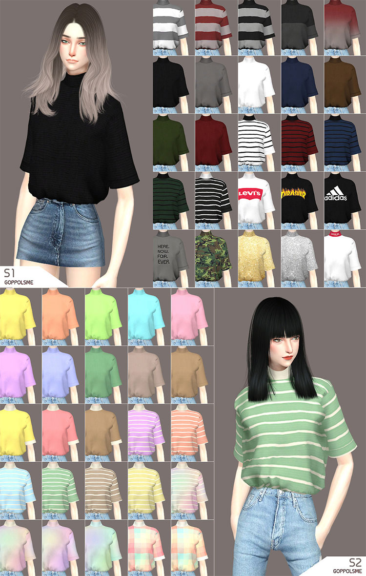 Oversized t-shirts for girls - Sims 4 CC
