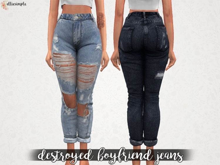 Boyfriend Jeans CC for The Sims 4