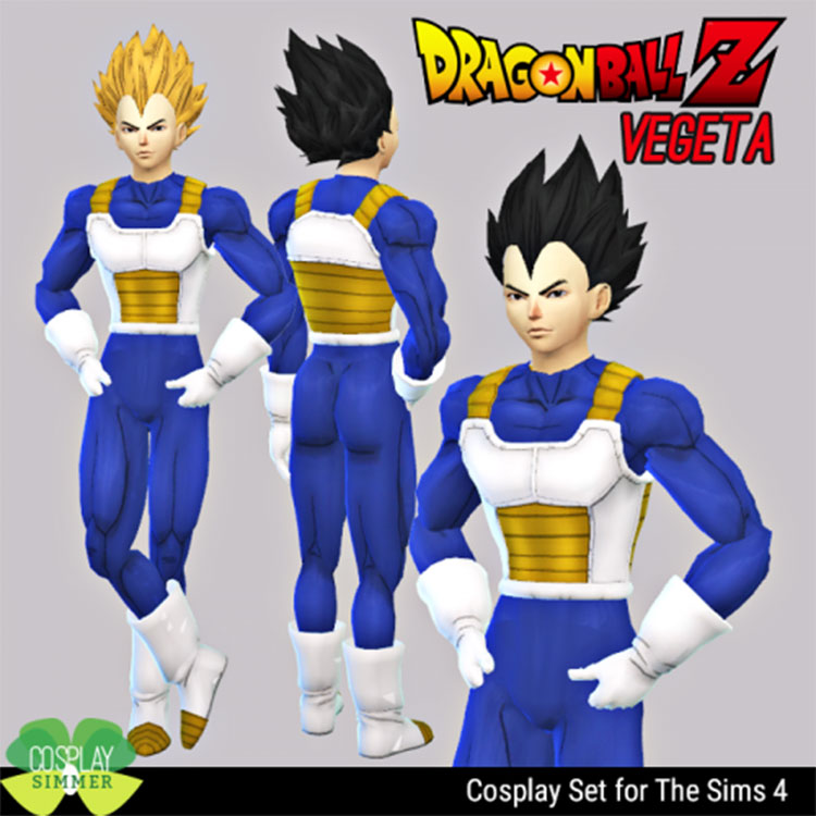 Vegeta Cosplay Set CC - Sims 4
