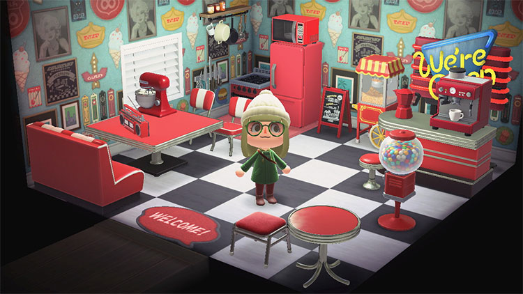 Diner-style kitchen interior for Animal Crossing: New Horizons