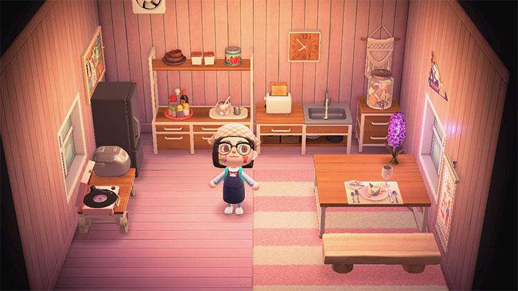 ACNH Animal Crossing blush kitchen idea
