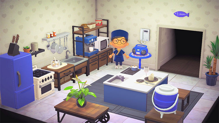 Vibrant Blue Kitchen Design - ACNH