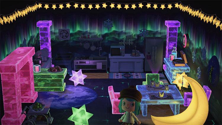 Neon lights in Kitchen - ACNH Idea