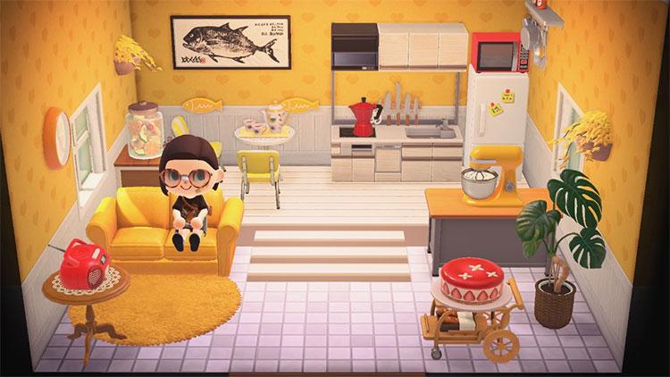 Yellow and orange kitchen design - ACNH