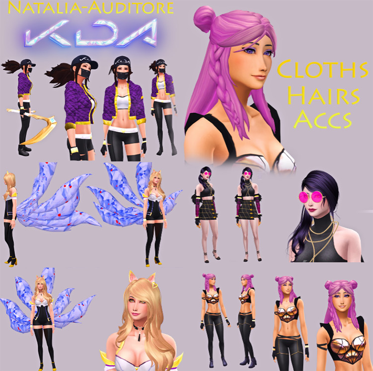 K/DA Outfits and Accessories for Sims 4