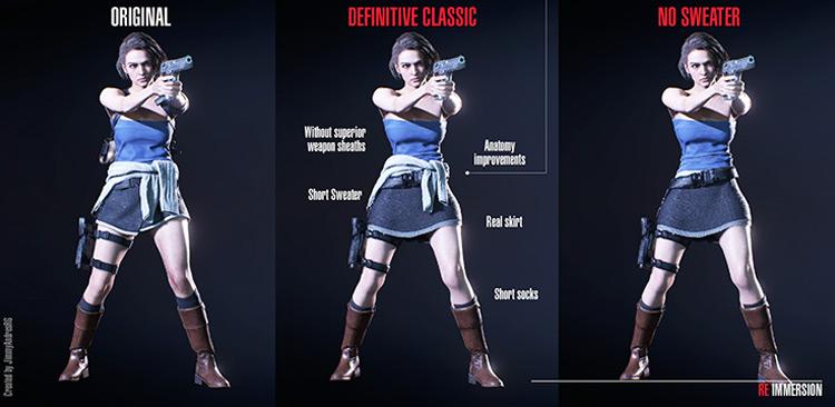 Jill Definitive Classic Costume mod for RE3R
