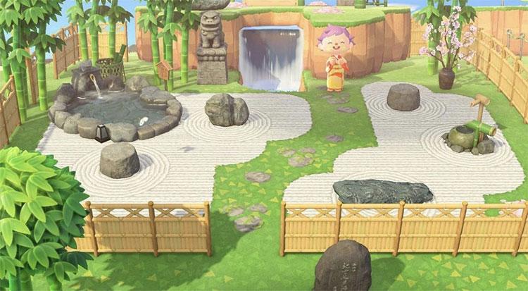 Peaceful Zen Garden Area with Fencing - ACNH