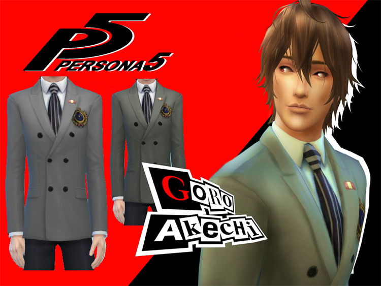 Goro Akechi's School Uniform (Persona 5) for Sims 4