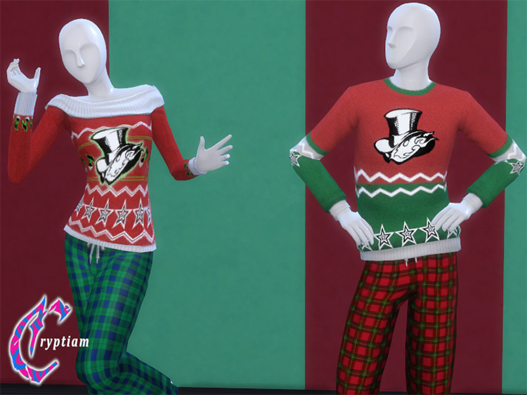 Persona 5 Holiday Sweaters Sims 4 CC