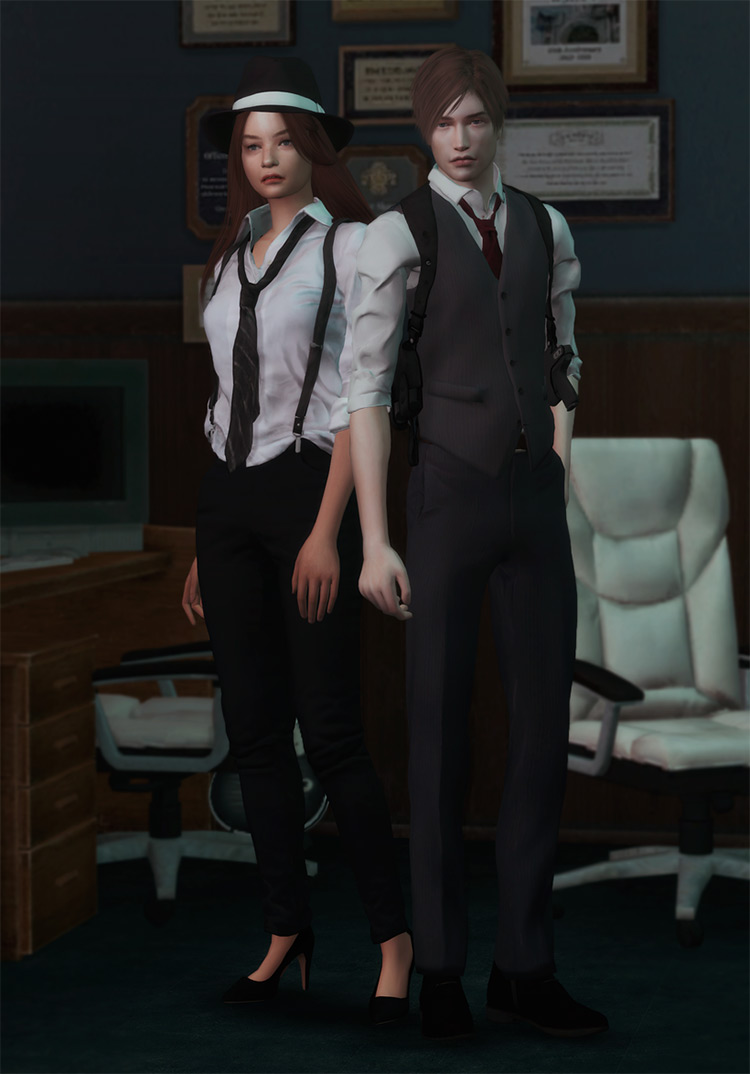 Leon & Claire Outfit Pack (RE2R) for Sims 4