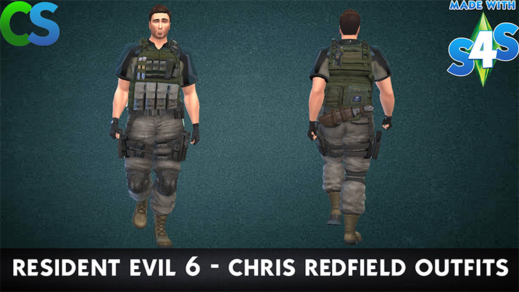 Chris Redfield Outfit (RE6) Sims 4 CC screenshot