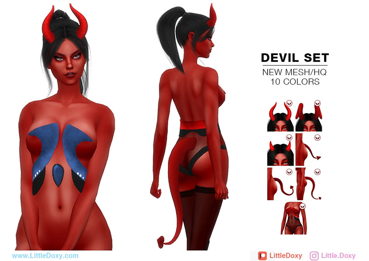 Devil Set & Rhea Natas by LittleDoxy for Sims 4