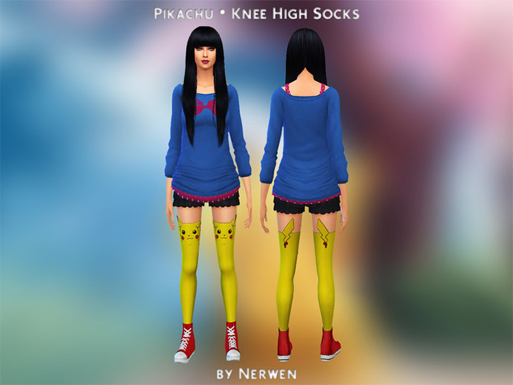 Pikachu Knee-High Socks by Nerwen666 for Sims 4