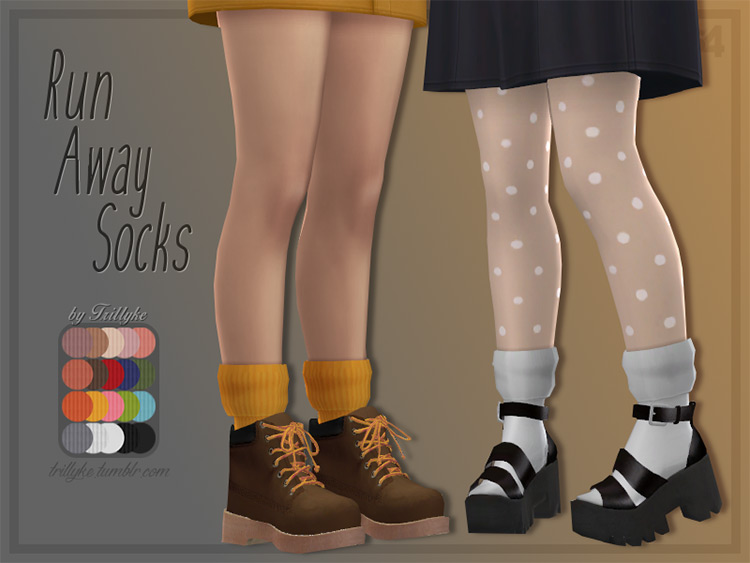 Run Away Socks by Trillyke for Sims 4