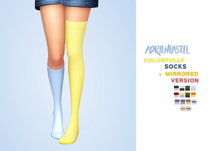 Colorfully Socks + Mirrored Version by AdrienPastel for Sims 4