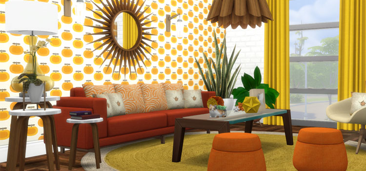 Midcentury Modern Bright Room Preview - Sims 4 CC