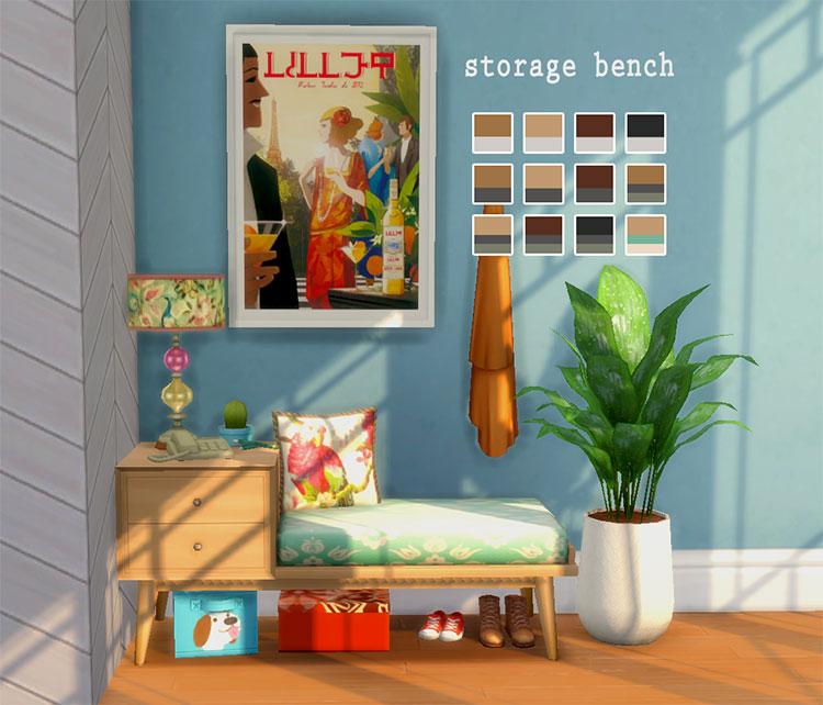 Storage Bench Midcentury Modern - TS4 CC