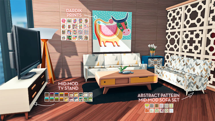 Mid-Mod CC Set for The Sims 4