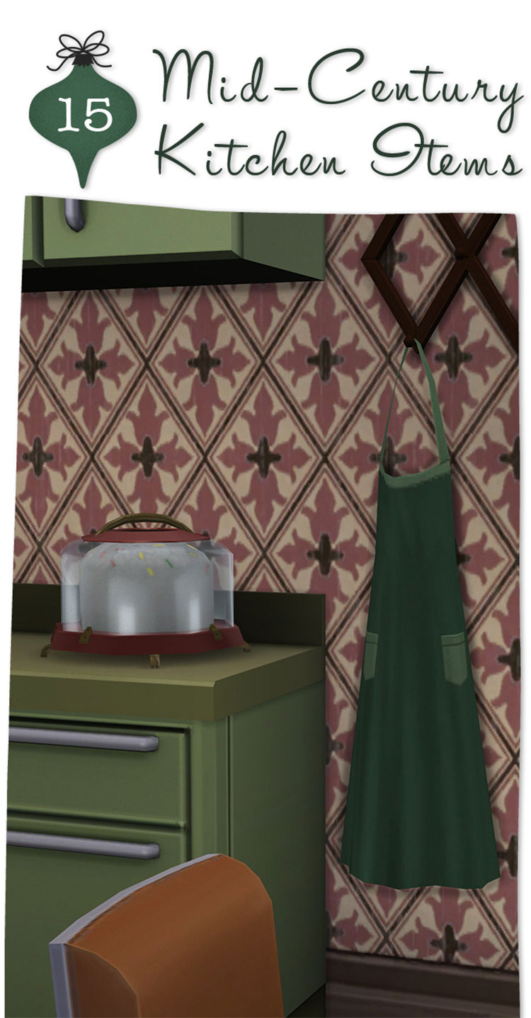 Mid-Century Kitchen Items CC Set - TS4