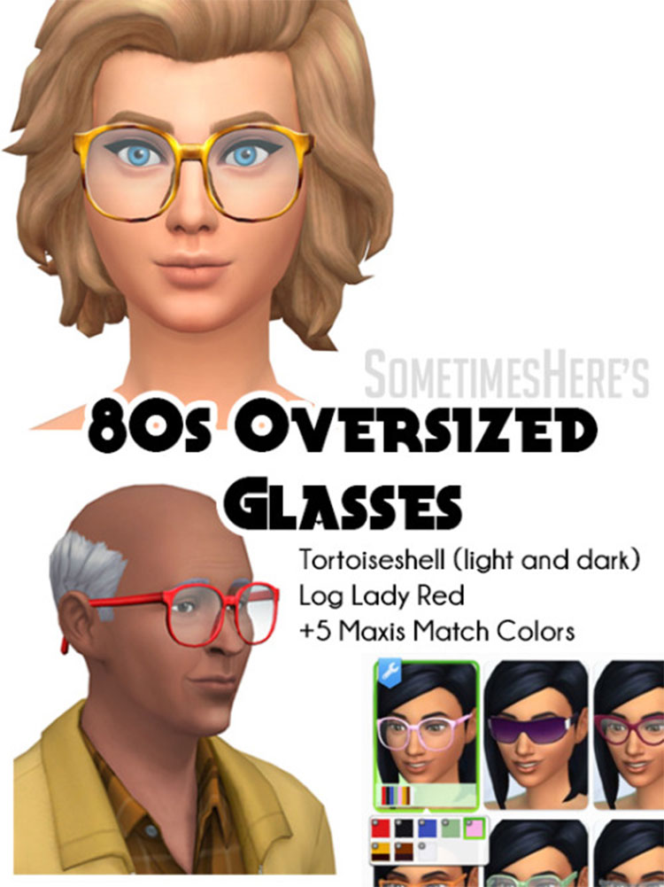 80's Oversized Glasses CC - Sims 4