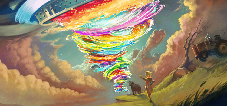 Rainbow Tornado Digital Painting Design