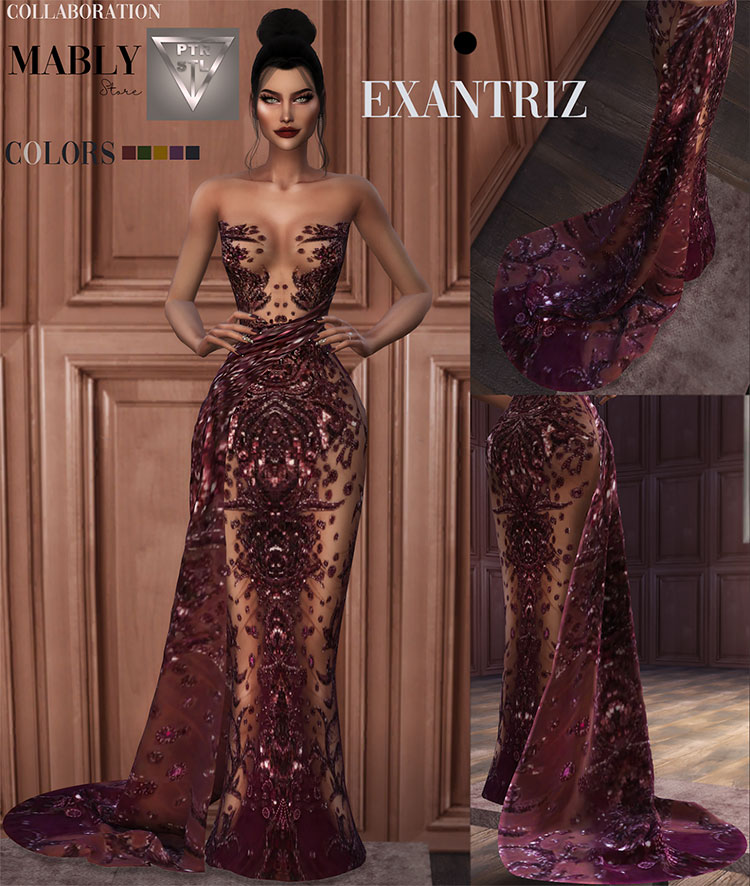 Exantiz Gown and Acc - Sims 4 CC