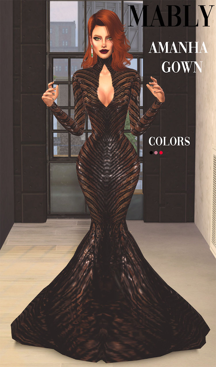 Long Amanha Gown CC - The Sims 4