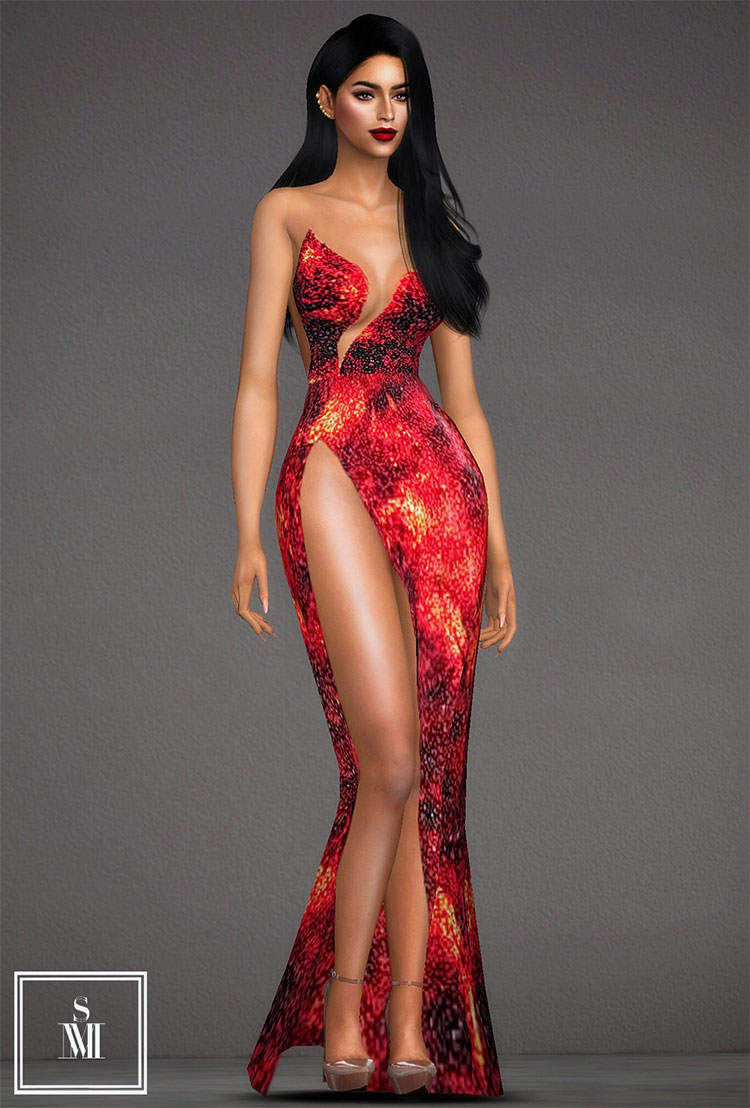 Lava Gown Miss Universe CC The Sims 4