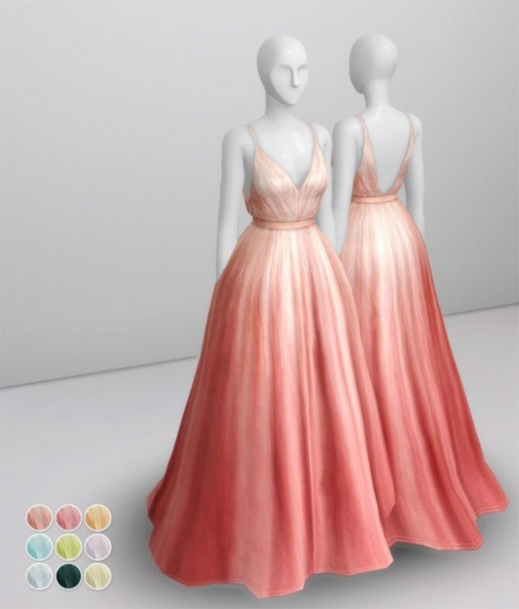 Peach Silk Gown CC - Sims 4