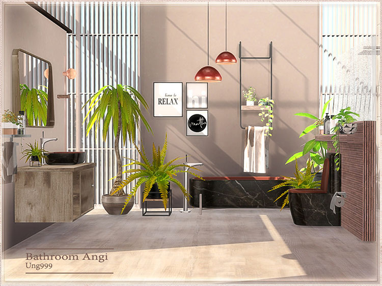 Angi CC Bathroom Shower Set - Sims 4