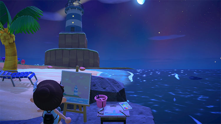 Painting on the beack with lighthouse - ACNH