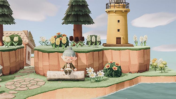 Natural Lighthouse Design Idea for ACNH