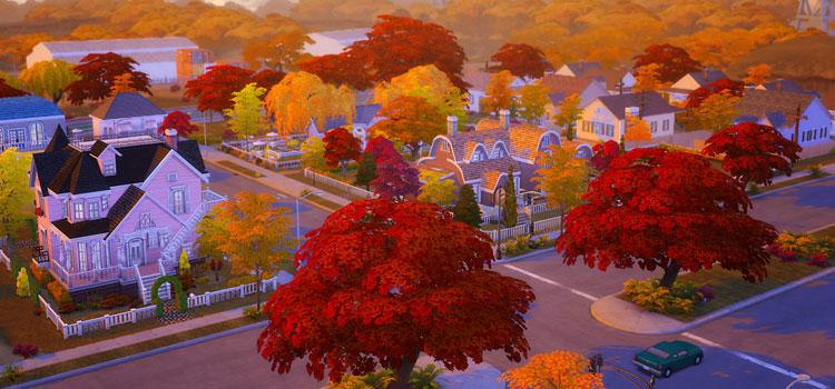 Autumn Suburban Neighborhood in The Sims 4