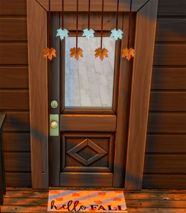 Autumn Fall Door Decor CC for The Sims 4