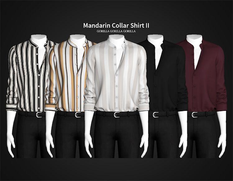 Mandarin Collar Shirt CC for The Sims 4