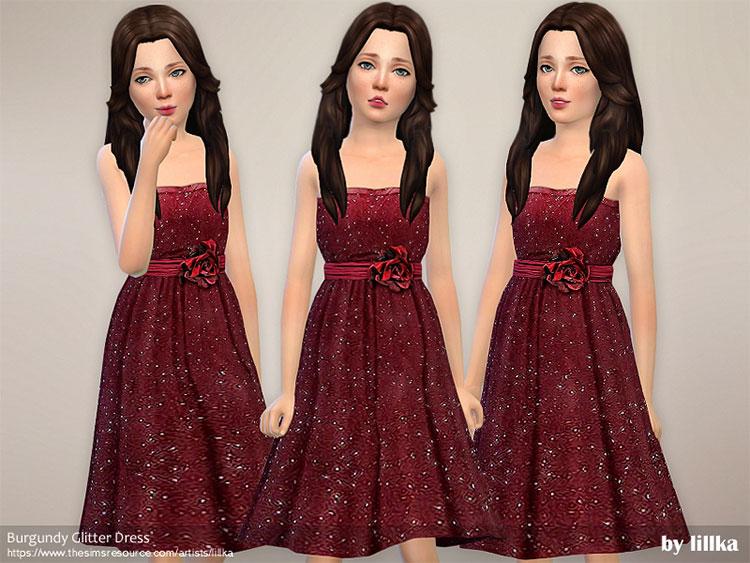 Burgundy Glitter Dress CC - Sims 4