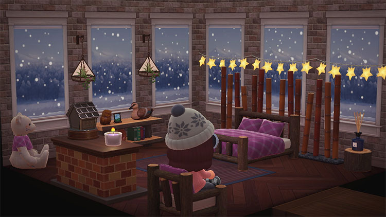 Comfy Bedroom with Snow Outside - ACNH Idea