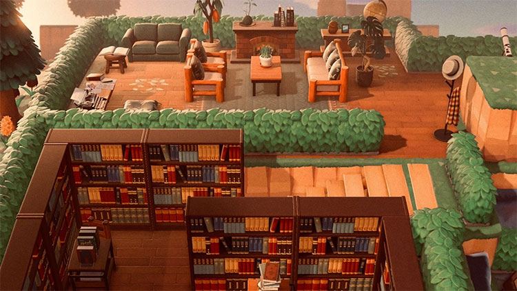Library Book Maze and Reading Area - ACNH Idea