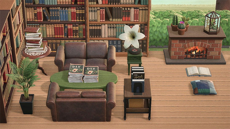 Cozy Old-Fashioned Library Space - ACNH Idea