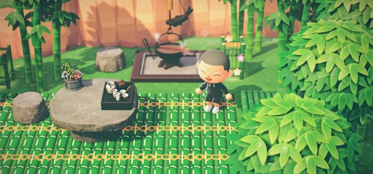 Bamboo Flooring and Garden - ACNH Design Idea