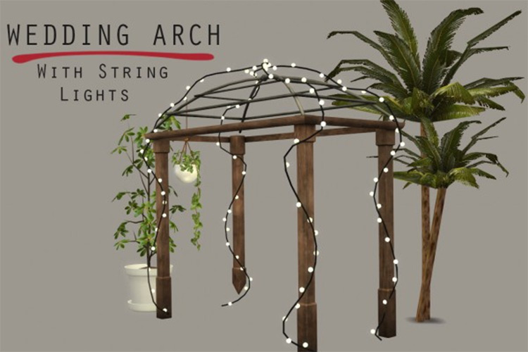 Wedding Arch with String Lights - Sims 4 CC