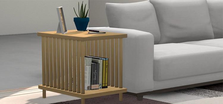 Oak Modern End Table - Sims 4 CC