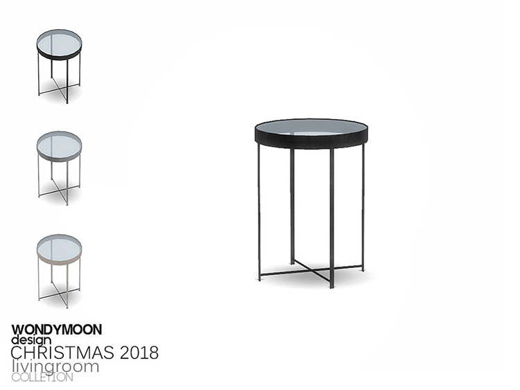 Glass rounded end table - TS4 CC